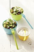 Cucumber and olive salad with yoghurt dressing