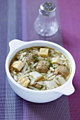 Saxon wedding soup with meatballs