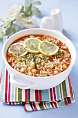 Tomato soup with pasta and vegetables