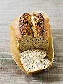 Seed bread, a slice cut