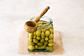 Olive cassées (Bottled cracked green olives, France)