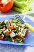Bean salad with matjes herring