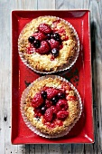 Raspberry and blueberry tarts (overhead view)