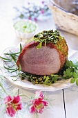 Roast ham with pistachios