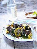 Barbecued lamb, courgette and pepper kebabs