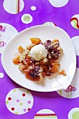 Apricot dessert with nuts and vanilla ice cream