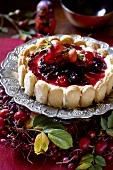 Obstkuchen mit Löffelbiskuit