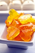 Heart-shaped orange sweets