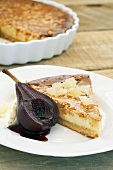 Ginger tart with pear poached in red wine