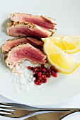 Seared tuna fillets with sea salt and pink peppercorns