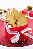 Almond fir tree biscuits in red gift box