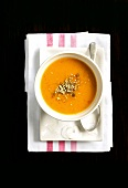 Cream of pumpkin soup made with coconut milk