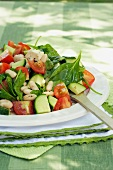 Summery salad with feta cheese and beans