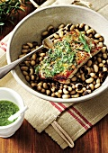 Seared tuna fillet on black-eyed peas