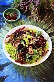 Autumn salad with mushrooms and cranberries