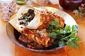 Mince enchiladas with cheese (Mexico)