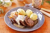 Beef roulade with bacon and boiled potatoes (Poland)