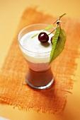 Cherry dessert in glass