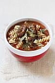 Tomato soup with fusilli