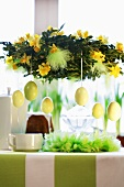 Easter wreath over laid table