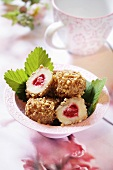 Strawberry dumplings with nut crust