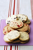 Nut-, cherry- and chocolate biscuits
