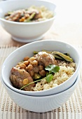 Moroccan chicken dish with chick-peas and couscous
