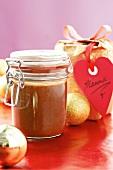 Chocolate hazelnut sauce to give as a Christmas gift