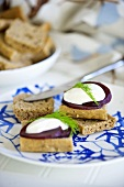Beetroot and sour cream on bread