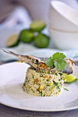Stuffed sardine on couscous