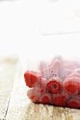 Raspberries in freezer bag