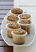 Nut muffins on plate