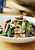 Mushroom, beef and celery stir-fry
