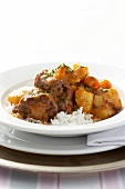 Ox ragout with potatoes on rice