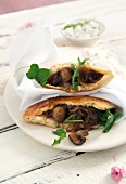 Flatbread filled with mushroom shawarma (Middle Eastern cuisine)