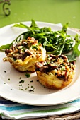 Noodle nests with tuna and mushroom filling