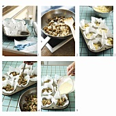 Making pasta nests with mushroom filling