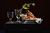Celeriac cream and grilled king prawns