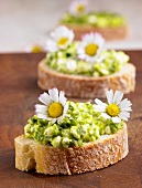Cottage cheese with ramsons (wild garlic) and daisies on bread