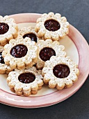 Raspberry biscuits on plate