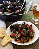 Mussels and tomatoes in beer sauce
