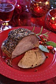 Roast beef with pepper crust for Christmas