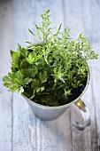 Assorted herbs in metal jug