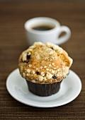Blueberry muffin and espresso