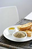 Dukkah (spice mixture), olive oil and flatbread