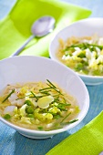 Fish soup with peas, noodles, cabbage and chives