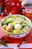 Fruit salad with honey and ginger sauce