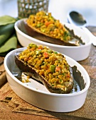 Aubergines with Indian vegetable stuffing