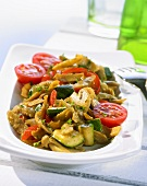 Pan-cooked vegetables with soya strips