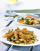 Soya strips in spicy vegetable sauce